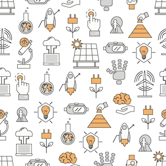 Vector thin line art innovations seamless pattern