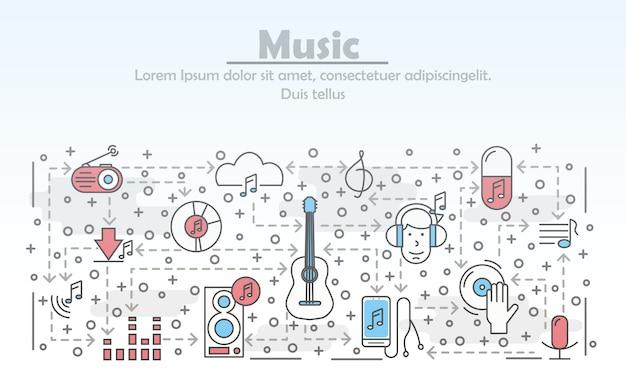 Vector thin line art music illustration