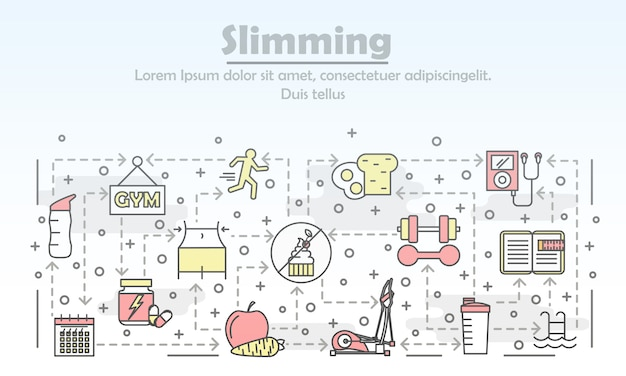 Vector thin line art slimming illustration