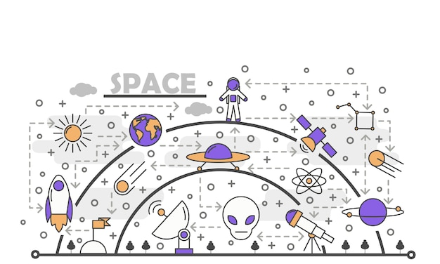 Vector thin line art space illustration