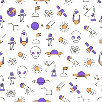 Vector thin line art space seamless pattern