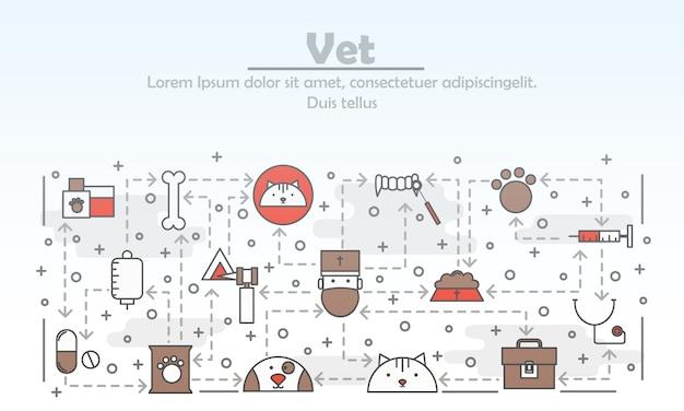 Vector thin line art vet illustration