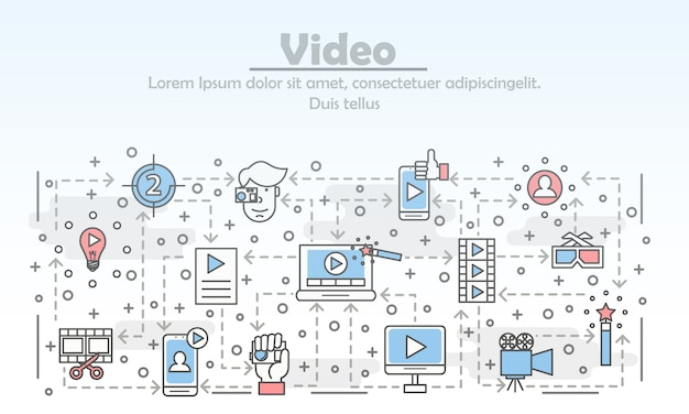 Vector thin line art video illustration