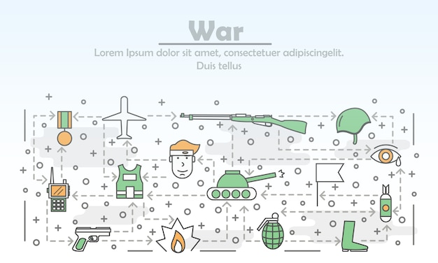 Vector thin line art war illustration