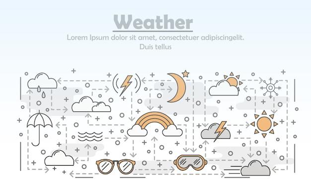 Vector thin line art weather illustration
