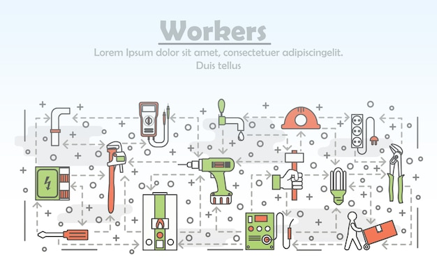 Vector thin line art workers illustration