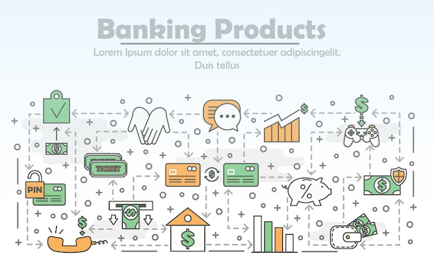 Vector thin line banking products illustration