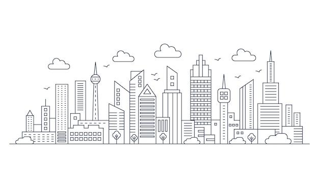 ベクトル細い線の都市パノラマ風景。高層ビルのある近代建築の都市。