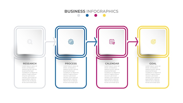 Vector thin line elements template business concept with 4 options or steps