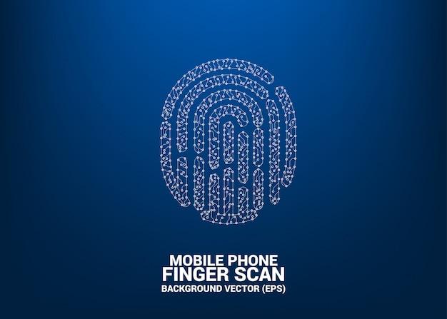점 및 선 회로 보드 스타일에서 벡터 지문 아이콘. 손가락 스캔 기술 및 개인 정보 보호 액세스에 대 한 배경 개념.
