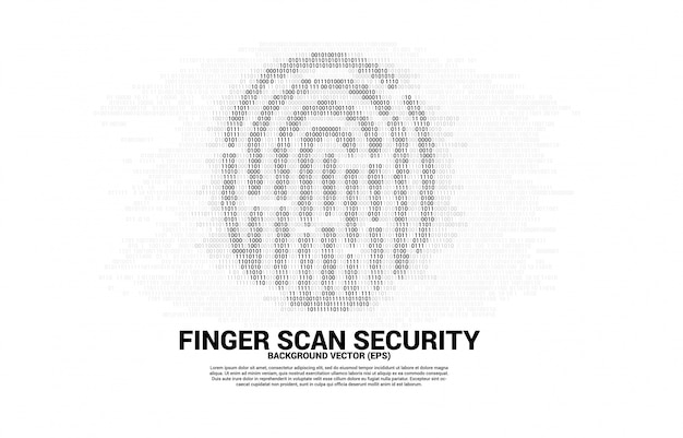 Vector thumbprint icon from one and zero binary code. concept for finger scan technology and privacy access.