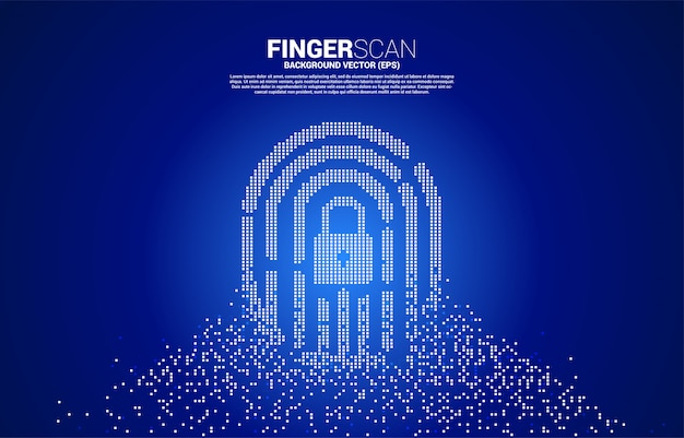 Vector thumbprint with lock pad center from pixel transformation. concept for finger scan technology and privacy access.