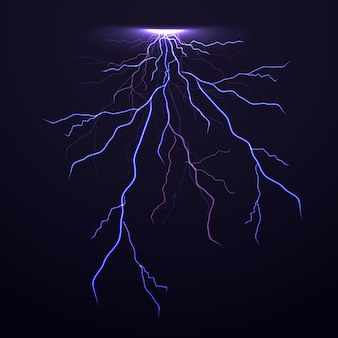 Vector thunder lightning on black