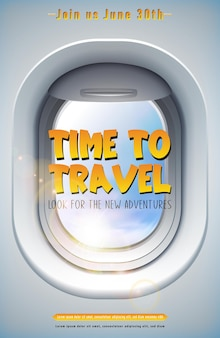 Vector time to travel banner with plane window and sky