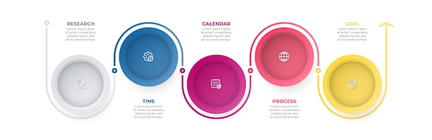 Vector timeline infographic label design with circle and icons business concept with 5 options