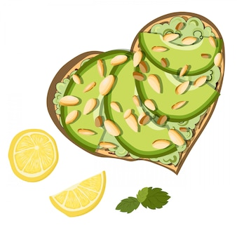 Vector toast with avocado and lemon
