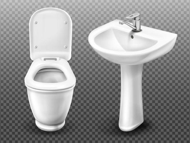 Vector toilet bowl and sink for bathroom