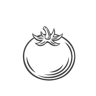 Вектор помидор. значок наброски овощей фермы, рисование монохромной иллюстрации