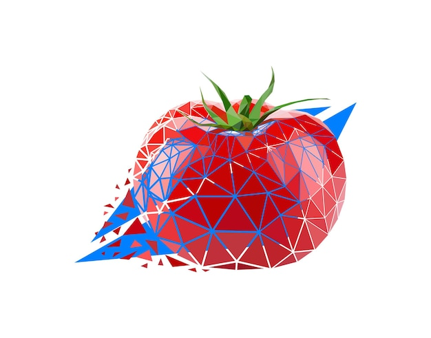 Vector tomato in low poly style. digital art