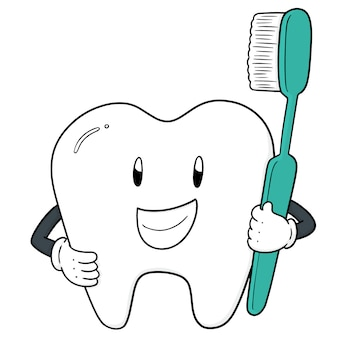 Vector of tooth and toothbrush