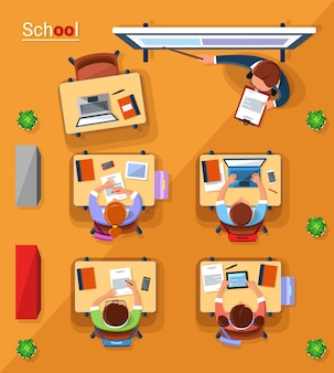 Vector top view school concept illustration in flat style.