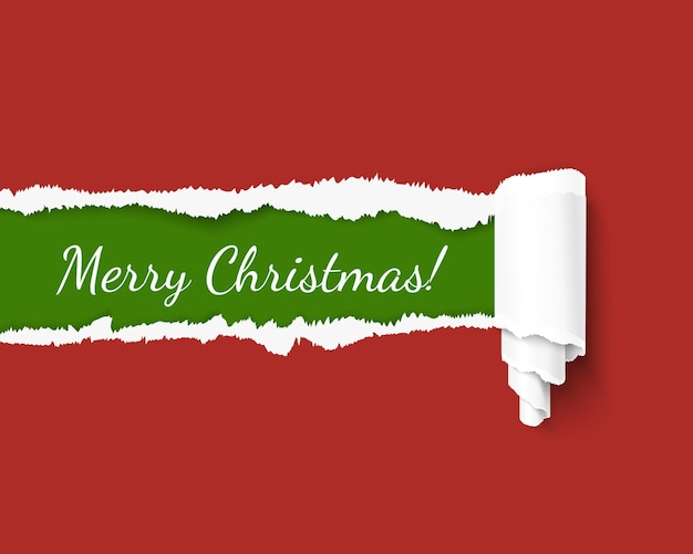 Vector torn paper template for merry christmas promo and advertising in santa colors