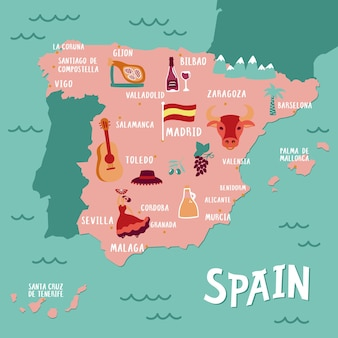 Vector tourist map of spain