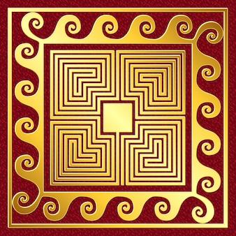 Вектор традиционный старинный золотой греческий орнамент, меандр