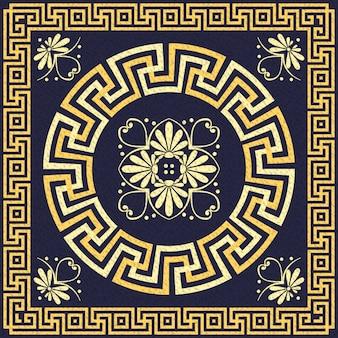 Вектор традиционный старинный золотой греческий орнамент (меандр)