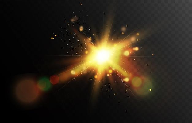 벡터 투명 밝은 햇빛 특수 렌즈 조명 효과 태양 플레어 광선 및 눈부심