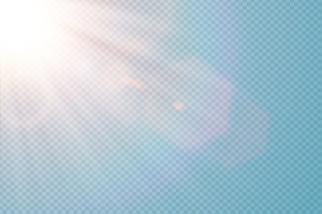 Vector transparent sunlight special lens flare. abstract diagonal sun translucent light effect design. isolated transparent background. glow decor element. star burst rays and spotlight.