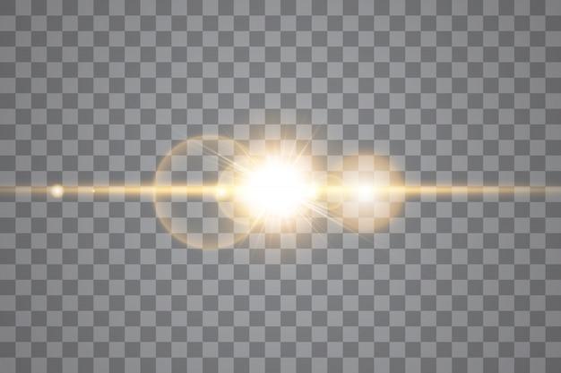 ベクトル透明な日光の特別なレンズフレアの光の効果。孤立した太陽光線とスポットライト。白いフロント半透明の日光。抽象的な輝きのまぶしさ装飾要素をぼかし。スターバースト