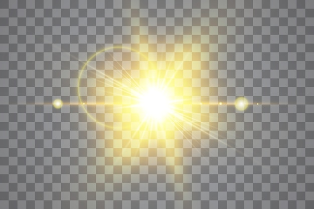 Vector transparent sunlight special lens flare light effect. isolated sun flash rays and spotlight.