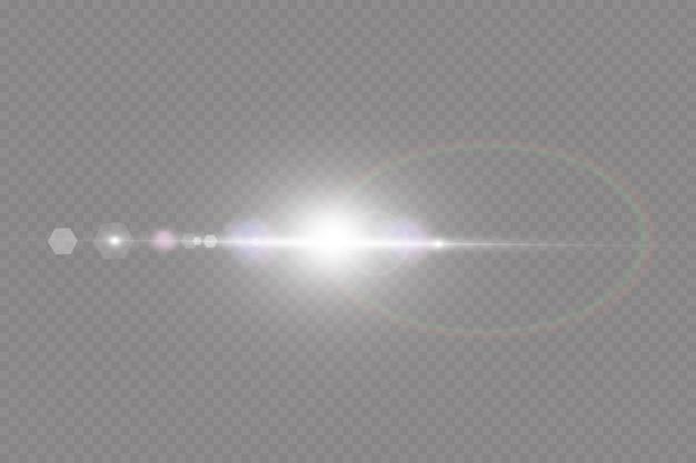 ベクトル透明太陽光特殊レンズフレアライト効果。サンバースト。