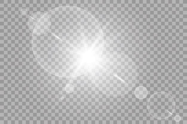 벡터 투명 햇빛 특수 렌즈 플레어 효과. 광선 및 스포트라이트로 태양 플래시
