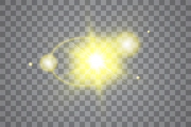 ベクトル透明な日光の特別なレンズフレアの光の効果。太陽が分離されました。グローライト効果