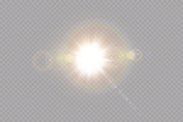 Вектор прозрачный солнечный свет специальные линзы блики световой эффект