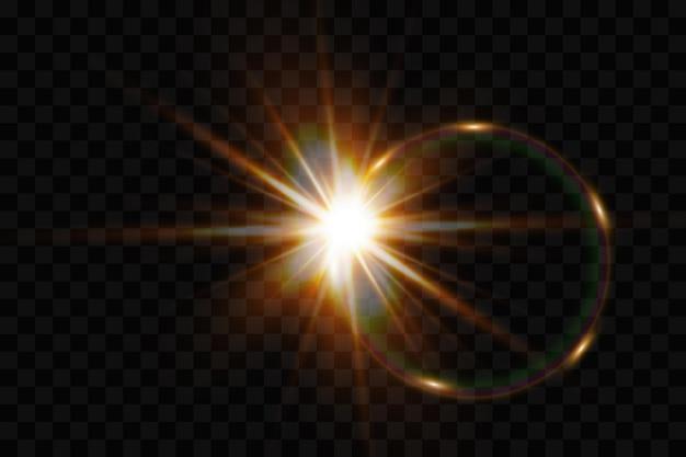ベクトル透明太陽光特殊レンズフレアライト効果