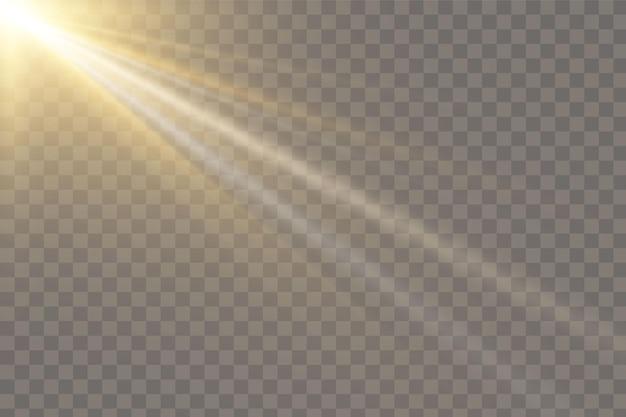 Вектор прозрачный солнечный свет специальные линзы вспышки световой эффект. передняя солнечная линза вспышка. векторное размытие в свете сияния. элемент декора. горизонтальные звездные лучи и прожектор.