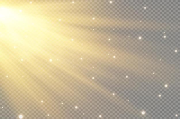 ベクトル透明日光特殊レンズフラッシュライト効果。フロントサンレンズフラッシュ。輝きに照らしてベクトルブラー。装飾の要素。水平恒星光線とサーチライト。