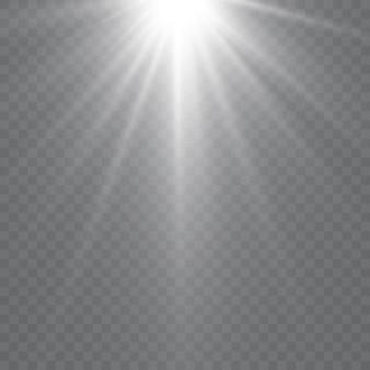 ベクトル透明太陽光特殊レンズフラッシュライト効果。フロントサンレンズフラッシュ。放射輝度に照らしてベクトルがぼやけます。装飾の要素。