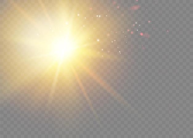 벡터 투명 햇빛 특수 렌즈 플래시 조명 효과. 전면 태양 렌즈 플래시. 빛에 비추어 벡터 흐림. 장식 요소입니다.