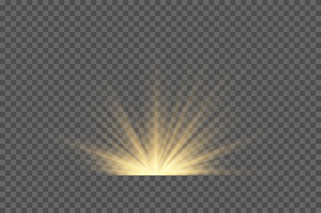 Vector transparent sunlight special lens flash light effect.front sun lens flash. vector blur in the light of radiance. element of decor. horizontal stellar rays and searchligh