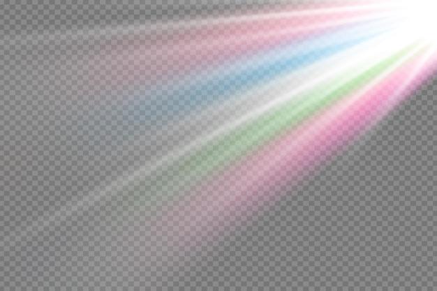 벡터 투명 햇빛 특수 렌즈 플래시 조명 효과. 전면 태양 렌즈 플래시.