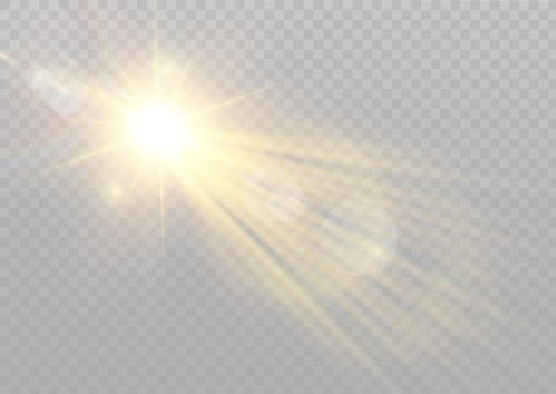 Вектор прозрачный солнечный свет специальные линзы вспышки световой эффект