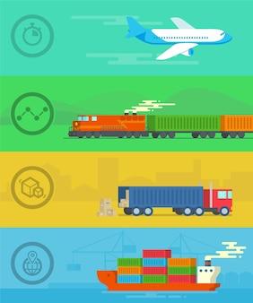 Векторный дизайн концепции транспорта и логистики в квартире