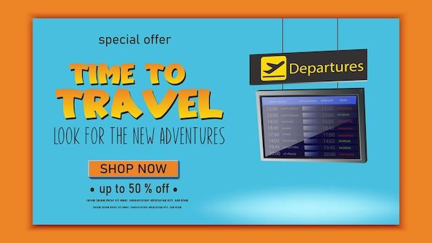 Banner di viaggio vettoriale volantino time to travel con avventure di pianificazione della tabella dei voli