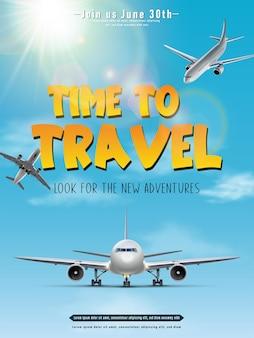 Banner di viaggio vettoriale poster di viaggio tempo di viaggio