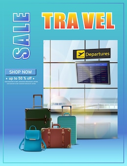 Vector travel banner vector travel banner vector vacation flyer with flight schedule and luggage o