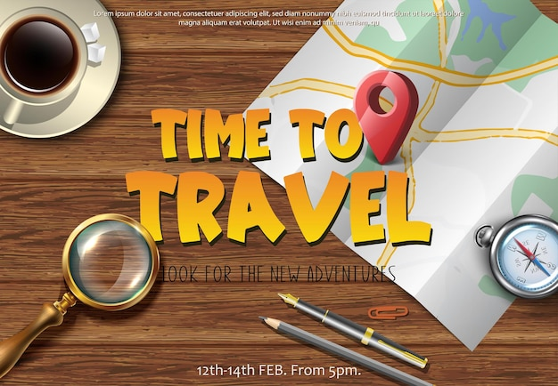 Vector travel banner voyage map on the wooden table from above with magnifying glass and compass